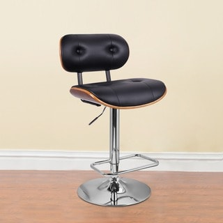 Adeco Off-black Walnut Buttom Tufted Adjustable Comfy Bar stool