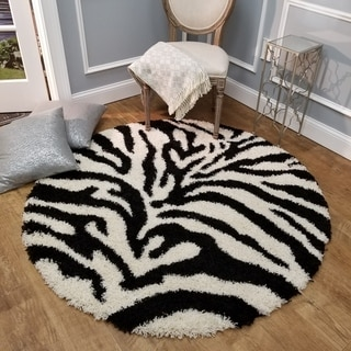 Maxy Home Zebra Shag Animal Print Black and White Area Rug (5' Round)