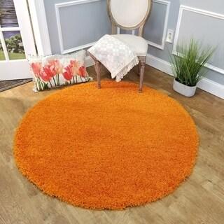Maxy Home Orange Shag Area Rug Single Solid Color (5' Round)