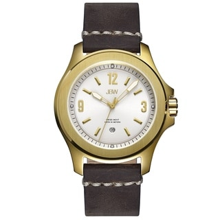 JBW Men's 'The Grove' Brown Leather Date Watch