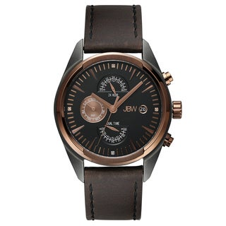 JBW Men's 'The Woodall' Brown Leather Watch