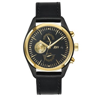 JBW Men's 'The Woodall' Black Leather Watch