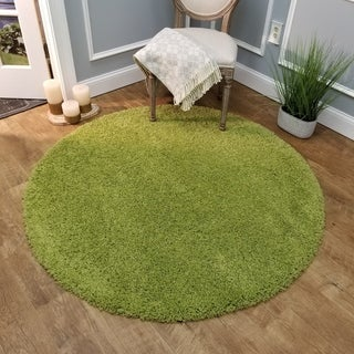 Maxy Home Green Shag Area Rug Single Solid Color (5' Round)