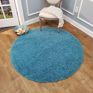 Maxy Home French Blue Shag Area Rug Single Solid Color (5' Round)