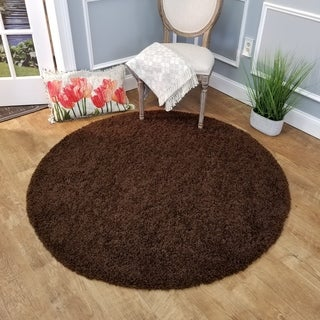 Maxy Home Brown Shag Area Rug Single Solid Color (5' Round)