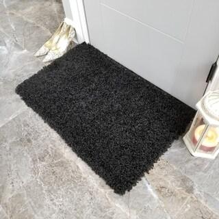 Maxy Home Black Shag Accent Rug Doormat Single Solid Color (1'8 x 2'7)