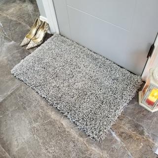 Maxy Home Grey Shag Accent Rug Doormat Single Solid Color (1'8 x 2'7)