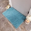 Maxy Home French Blue Shag Accent Rug Doormat Single Solid Color (1'8 x 2'7)