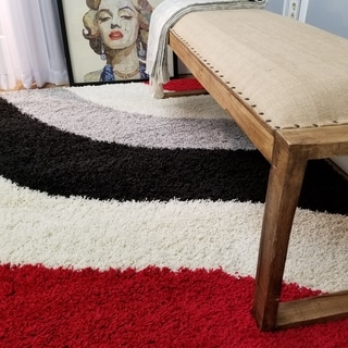 Maxy Home Shag Block Striped Waves Red Black White Grey Area Rug (5' x 7')