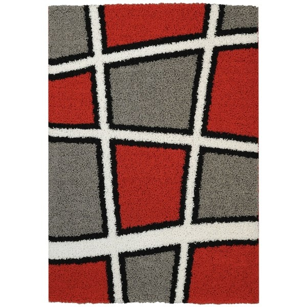 Maxy Home Shag Geometric Tile Design Red Black White Grey
