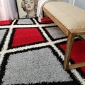 Maxy Home Shag Geometric Tile Design Red Black White Grey Area Rug (3'3 x 4'8)