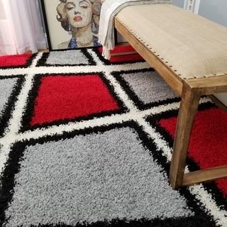 Maxy Home Shag Geometric Tile Design Red Black White Grey Area Rug (6'7 x 9'3)