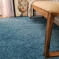 Maxy Home Collection French Blue Shag Area Rug Single Solid Color (3'3 x 4'8)