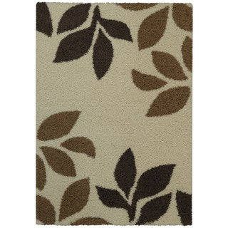 Maxy Home Shag Garden Leaves Ivory and Brown Area Rug (5' x 7')
