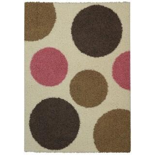 Maxy Home Shag Polka Dots Circle Ivory Pink Brown Area Rug (3'3 x 4'8)