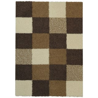Maxy Home Shag Checkerboard Squares Ivory and Brown Area Rug (6'7 x 9'3)