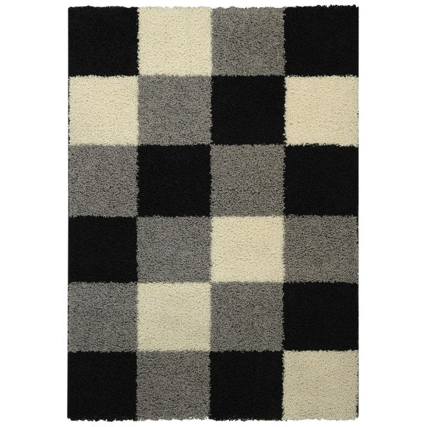 Maxy Home Shag Checkerboard Squares Black Grey Ivory Area Rug (5' x 7')