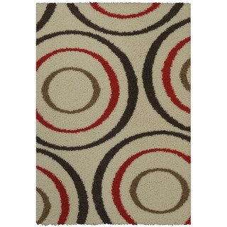 Maxy Home Shag Geometric Circles Ivory Red Brown Area Rug (6'7 x 9'3)
