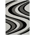 Maxy Home Shag Picasso Striped Wave Black White Grey Area Rug (3'3 x 4'8)