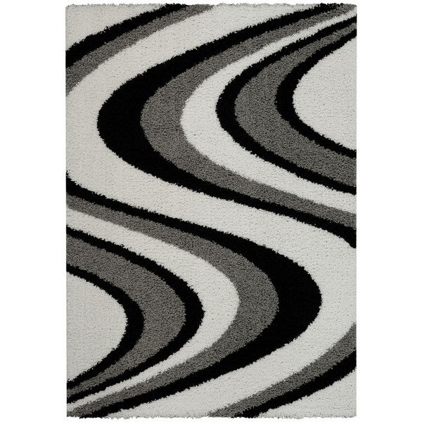 Maxy Home Shag Picasso Striped Wave Black White Grey Area Rug (5' x 7')