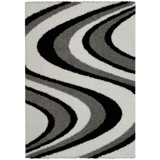 Maxy Home Shag Picasso Striped Wave Black White Grey Area Rug (5' x 7')