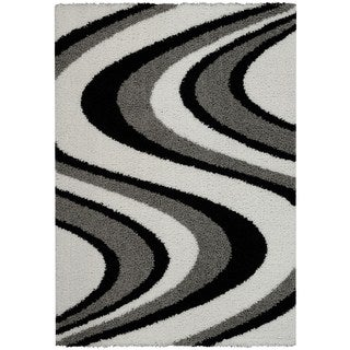 Maxy Home Shag Picasso Striped Wave Black White Grey Area Rug (6'7 x 9'3)