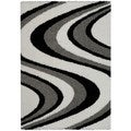 Maxy Home Shag Picasso Striped Wave Black White Grey Area Rug (6'7 x 9'3)