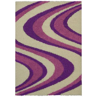 Maxy Home Shag Picasso Striped Wave Ivory Purple Pink Area Rug (6'7 x 9'3)