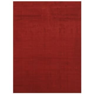 Maxy Home Collection Solid Blood Red Single Color Area Rug (7'11 x 9'10)