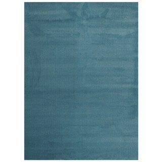 Maxy Home Collection Solid French Blue Single Color Area Rug (5'3 x 7'3)