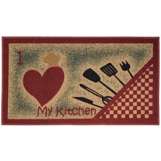 I Love My Kitchen and Utensils Non-Slip Kitchen Mat Rubber Back Rug (1'6 x 2'6)