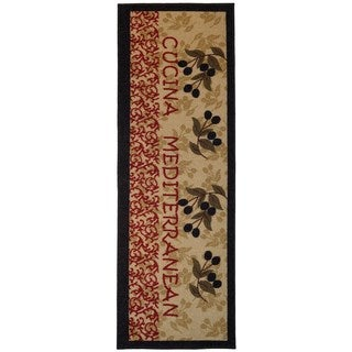 Italian Kitchen Olive Garden Non-Slip Kitchen Runner Rubber Back Rug (1'8 x 4'11)