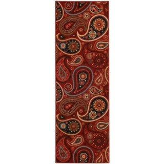 Rubber Back Red Paisley Floral Non-Slip Runner Rug (1'6 x 4'11)