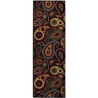Rubber Back Black Charcoal Paisley Floral Non-Slip Runner Rug (1'6 x 4'11)