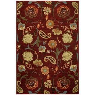 Rubber Back Burgundy Red Multicolor Floral Non-Slip Door Mat Rug (1'6 x 2'6)