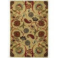Rubber Back Beige Multicolor Floral Non-Slip Door Mat Rug (1'6 x 2'6)