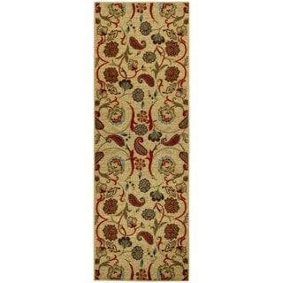 Rubber Back Beige Multicolor Floral Non-Slip Long Runner Rug (2'8 x 9'10)