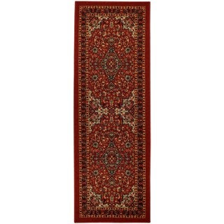 Rubber Back Red Traditional Floral Non-Slip Long Runner Rug (2'8 x 9'10)