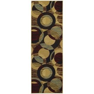 Rubber Back Multicolor Circles Non-Slip Runner Rug (1'6 x 4'11)
