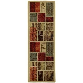 Rubber Back Multicolor Frame Boxes Non-Slip Runner Rug (1'6 x 4'11) - 1'6 x 4'11