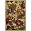 Rubber Back Ivory Multicolor Floral Garden Non-Slip Door Mat Rug (1'6 x 2'6)