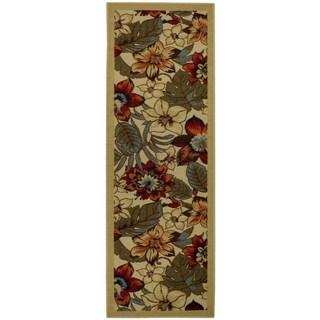 Rubber Back Ivory Multicolor Floral Garden Non-Slip Runner Rug (1'6 x 4'11)