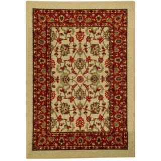 "Rubber Back Ivory Traditional Floral Non-Slip Door Mat Rug (1'6 x 2'6) - 1'6"" x 2'6"""