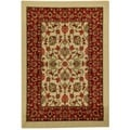 Rubber Back Ivory Traditional Floral Non-Slip Door Mat Rug (1'6 x 2'6)