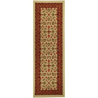 Rubber Back Ivory Traditional Floral Non-Slip Long Runner Rug (2'8 x 9'10)