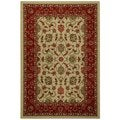 Rubber Back Ivory Traditional Floral Non-Slip Area Rug (6'7 x 9'3)
