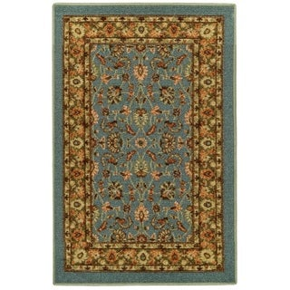 Rubber Back Ocean Blue Traditional Floral Non-Slip Door Mat Rug (1'6 x 2'6)