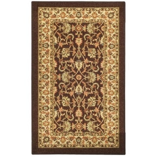 Rubber Back Brown Traditional Floral Non-Slip Door Mat Rug (1'6 x 2'6)