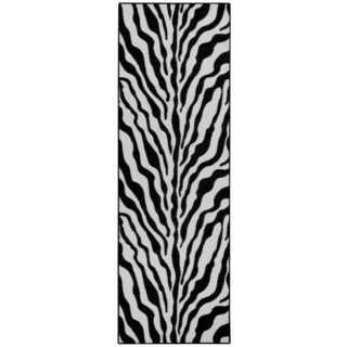 Rubber Back Black and Snow White Zebra Print Non-Slip Runner Rug (1'6 x 4'11)