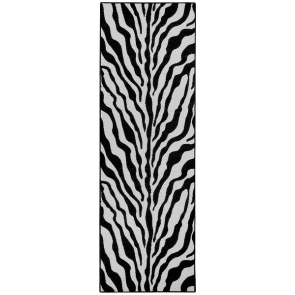Rubber Back Black And Snow White Zebra Print Non Slip Long
